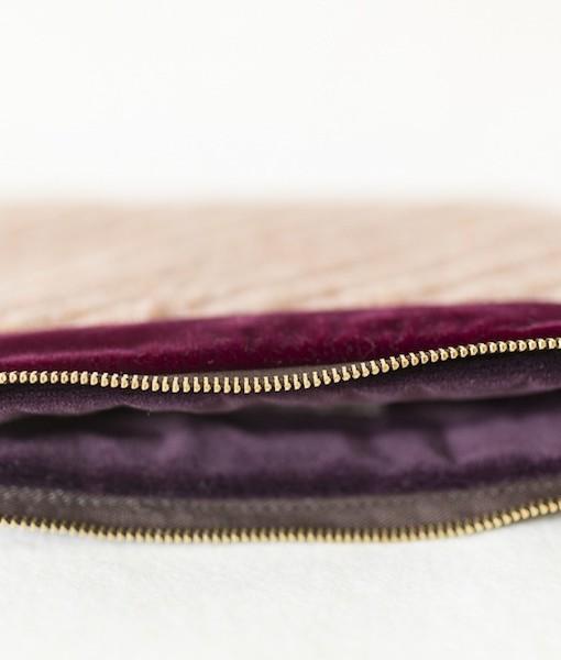 Katherine Emtage pale salmon Harris Tweed mini iPad clutch bag detail