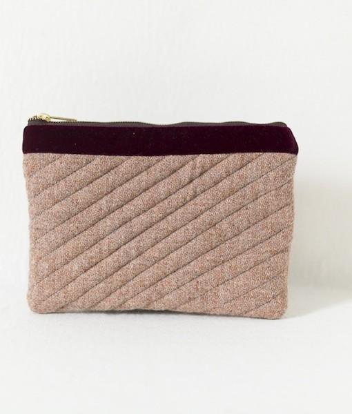 Katherine Emtage pale salmon Harris Tweed mini iPad clutch bag front