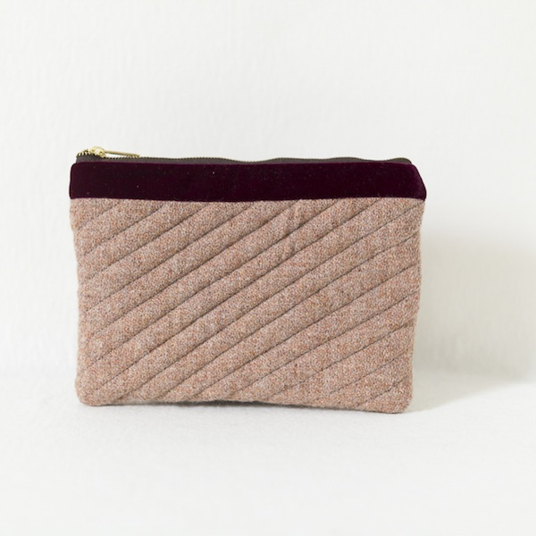 Katherine Emtage pale salmon Harris Tweed mini iPad clutch bag front