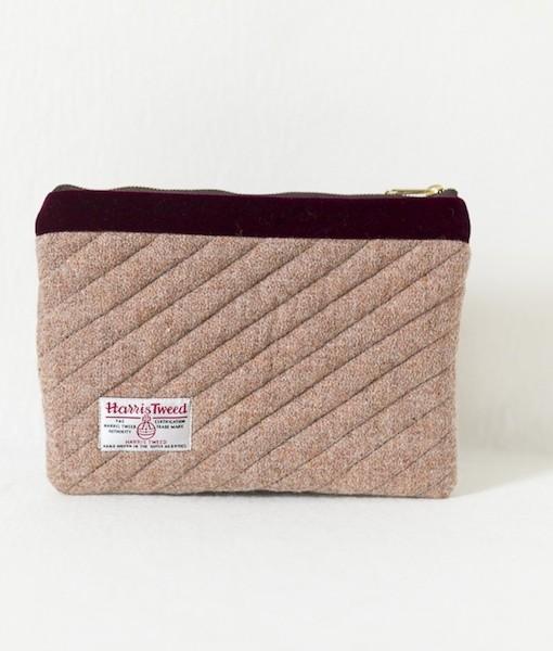 Katherine Emtage pale salmon Harris Tweed mini iPad clutch bag reverse
