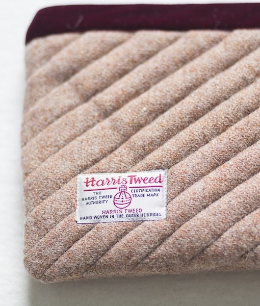 Katherine Emtage pale salmon Harris Tweed mini iPad clutch bag reverse detail