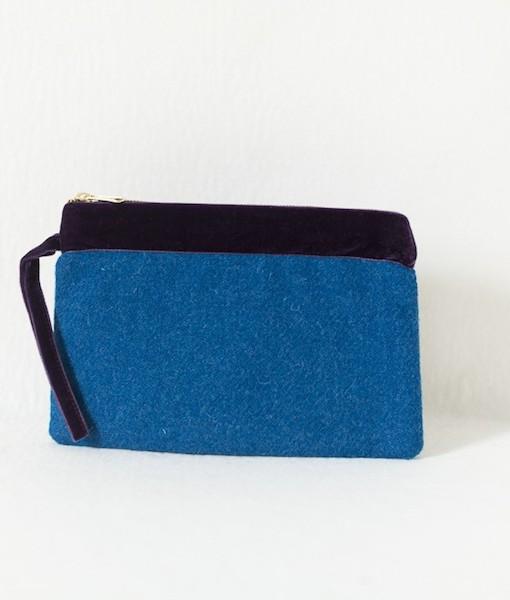 Katherine Emtage peacock blue large pochette front