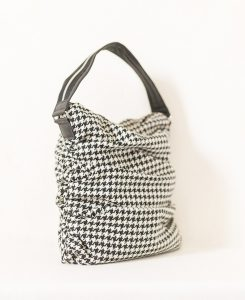 Katherine Emtage ruche slouch bag black & white houndstooth angle