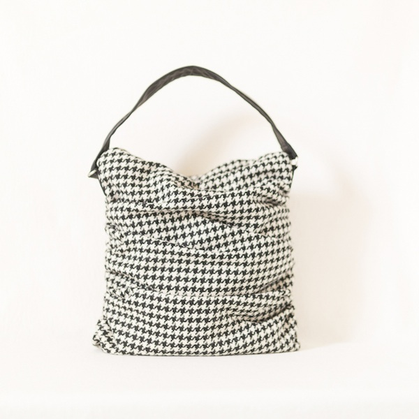 Katherine Emtage ruche slouch bag black & white houndstooth front