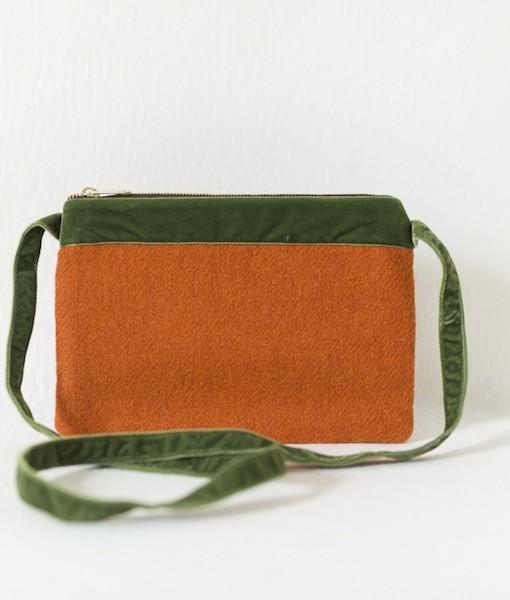 Katherine Emtage tangerine Harris Tweed large pochette long straps front