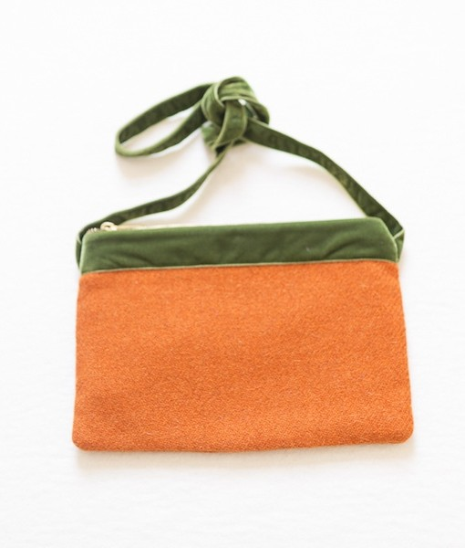 Katherine Emtage tangerine Harris Tweed large pochette tied front long strap