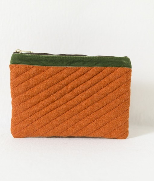 Katherine Emtage tangerine Harris Tweed mini iPad clutch bag front