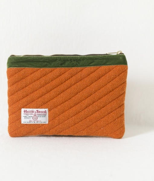 Katherine Emtage tangerine Harris Tweed mini iPad clutch bag reverse