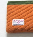 Katherine Emtage tangerine Harris Tweed mini iPad clutch bag reverse detail