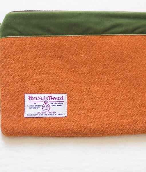 Katherine Emtage tangerine large pochette Harris Tweed reverse detail long strap