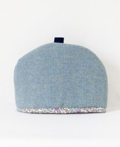 Katherine Emtage blue lovat Harris tweed large tea cosy