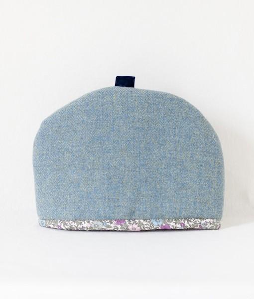 Katherine Emtage blue lovat Harris tweed large tea cosy