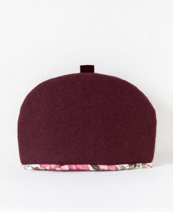 Katherine Emtage dark cherry Harris Tweed large tea cosy