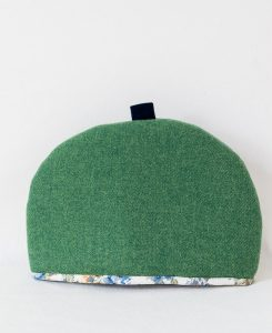 Katherine Emtage large tea cosy leaf green Harris Tweed front