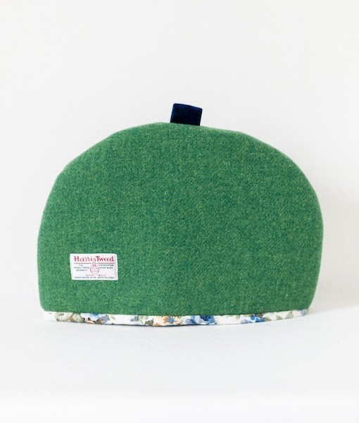 Katherine Emtage large tea cosy leaf green Harris Tweed reverse
