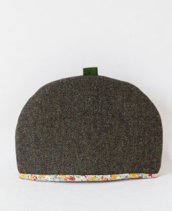 Katherine Emtage large tea cosy moss brown Harris Tweed front