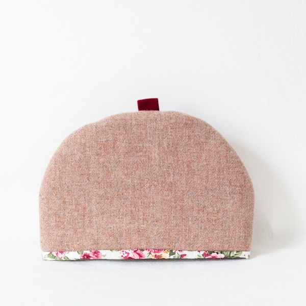 Katherine Emtage large tea cosy pale salmon pink Harris Tweed front