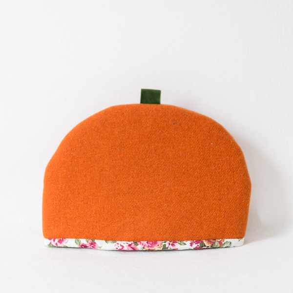 Katherine Emtage large tea cosy tangerine Harris Tweed front