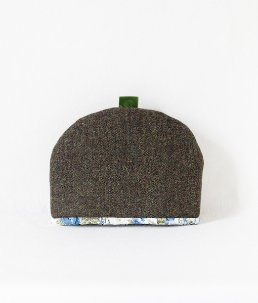 Katherine Emtage moss brown Harris Tweed tea cosy front