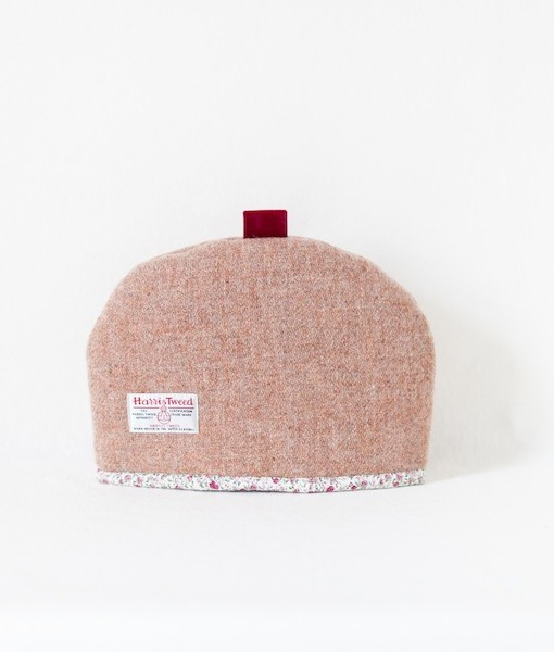 Katherine Emtage pale salmon Harris Tweed tea cosy