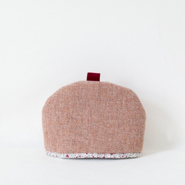 Katherine Emtage pale salmon Harris Tweed tea cosy medium