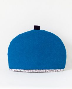 Katherine Emtage peacock blue Harris Tweed large tea cosy