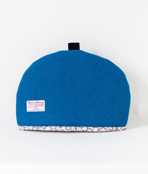Katherine Emtage peacock blue large tea cosy reverse