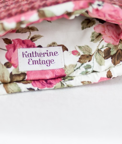Katherine Emtage raspberry houndstooth tea cosy inside detail