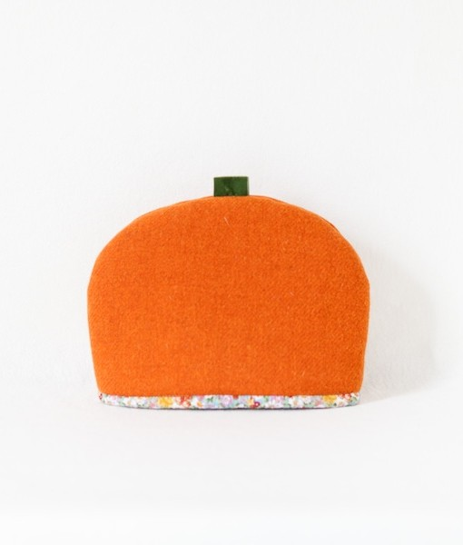 Katherine Emtage tangerine Harris Tweed tea cosy