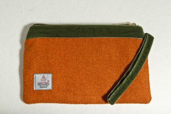 Katherine Emtage tangerine Harris tweed velvet pochette