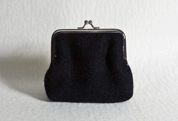 Katherine Emtage Black Clasp Purse Harris Tweed