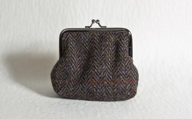 Katherine Emtage Brown Herringbone Check Clasp Purse Harris Tweed