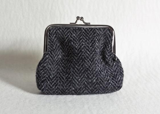 Katherine Emtage Charcoal Herringbone Clasp Purse Harris Tweed