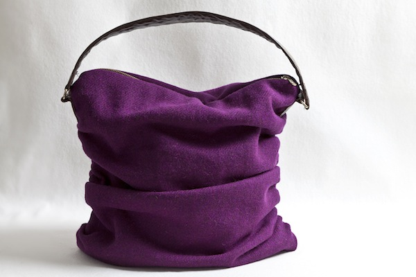 Katherine Emtage Grape Ruche Slouch Harris Tweed Front