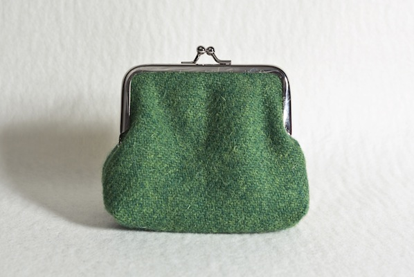 Katherine Emtage Leaf Green Clasp Purse Harris Tweed