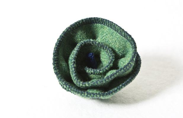 Katherine Emtage Leaf Green corsage Harris Tweed 1