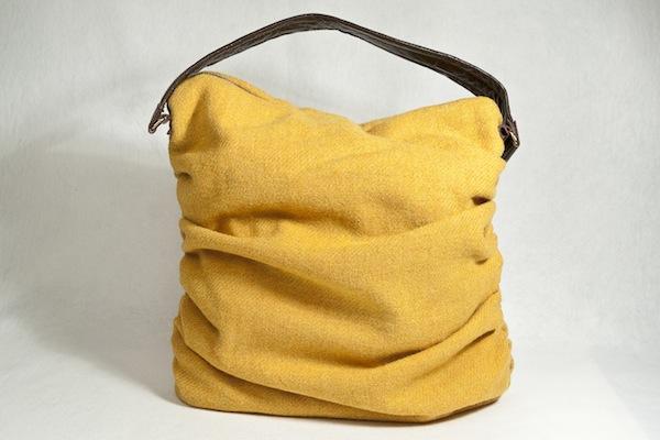 Katherine Emtage Mustard Ruche Slouch Harris Tweed Front2