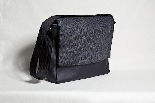 Katherine Emtage leather ultimate man bag harris tweed black charcoal