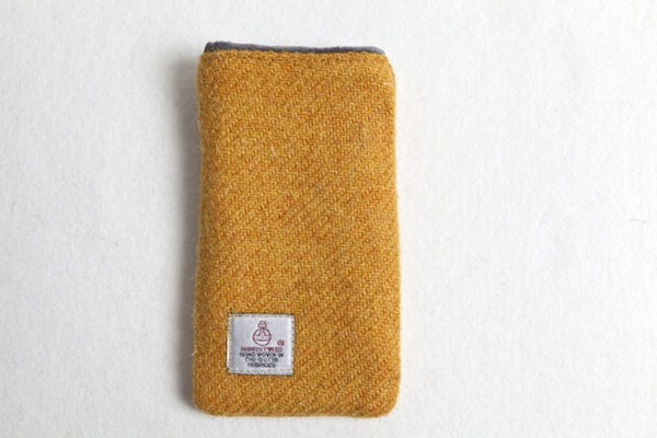 Katherine Emtage mustard Harris Tweed phone iPod case