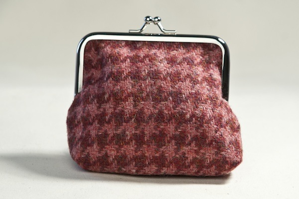 Katherine Emtage raspberry houndstooth Borders tweed clasp purse