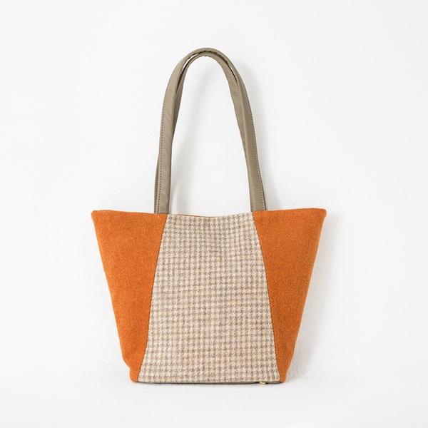 Katherine Emtage Anna Day Bag Tangerine biscuit Harris Tweed
