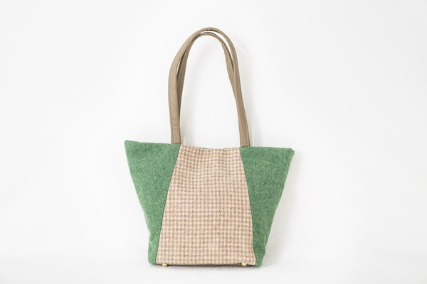 Katherine Emtage Anna Day Bag green biscuit front featured Harris Tweed