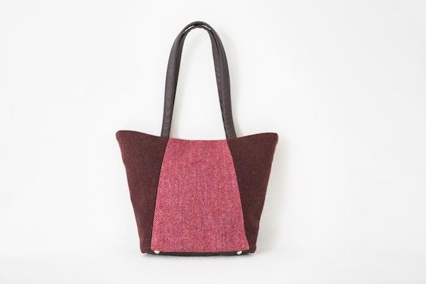 Katherine Emtage Anna Day Bag rasp cherry front Harris Tweed