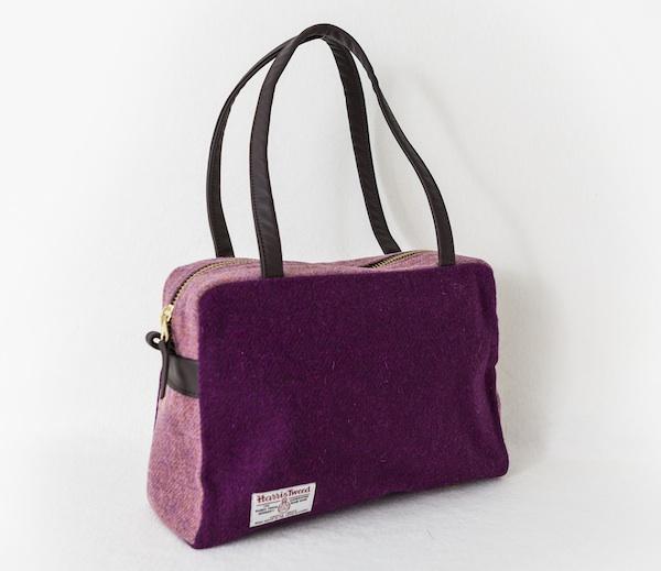 Katherine Emtage Elsie Day Bag Grape Heather Harris Tweed