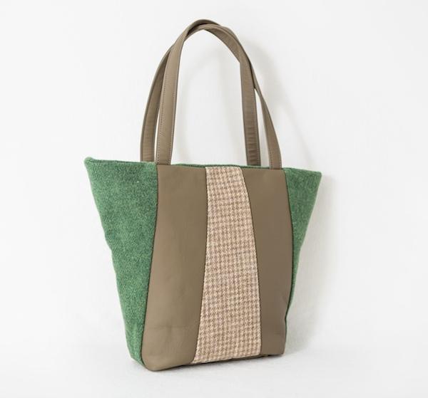 Katherine Emtage Freda Bag Leaf Green Harris Tweed