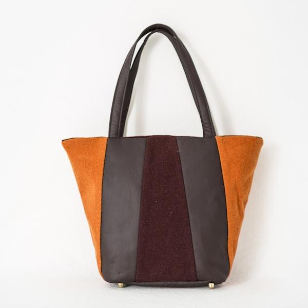 Katherine Emtage Freda Day Bag front tangerine cherry Harris Tweed