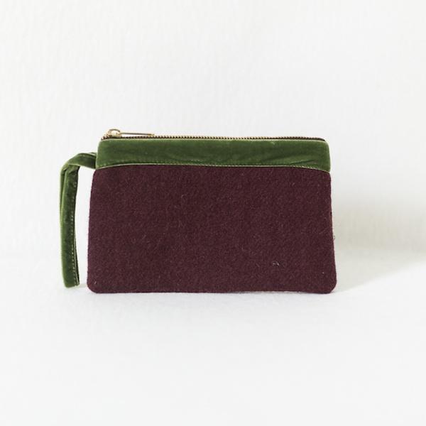 Katherine Emtage dark cherry Harris Tweed pochette olive green trim front
