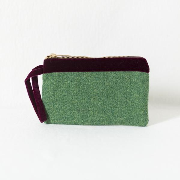 Katherine Emtage leaf green Harris Tweed pochette with burgundy velvet trim front