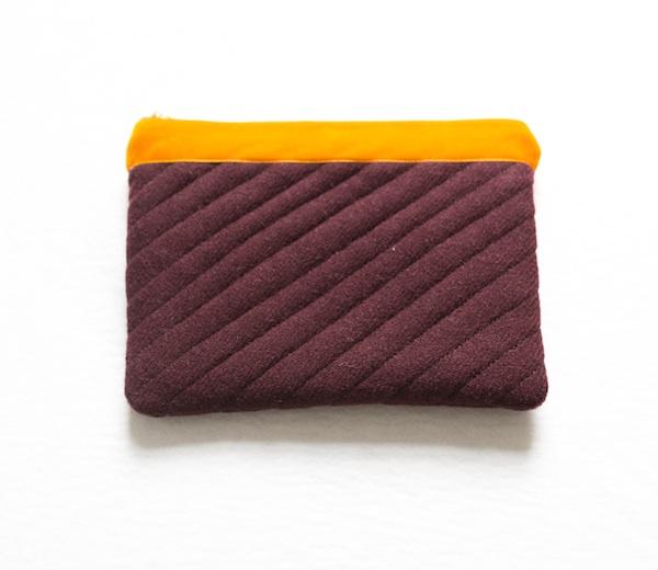 Katherine Emtage dark cherry Harris Tweed iPad clutch with tangerine trim front1
