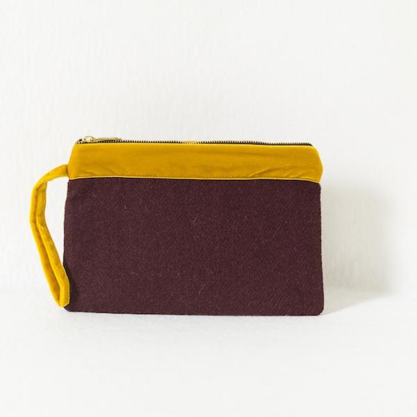 Katherine Emtage dark cherry Harris Tweed large pochette clutch bag front